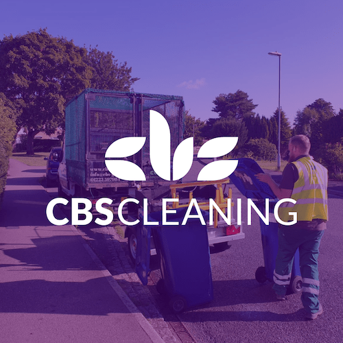 CBS Cleaning employee cleaning bins with environmentally friendly equipment